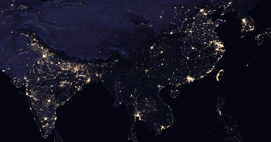 亞洲晚間衛星圖片