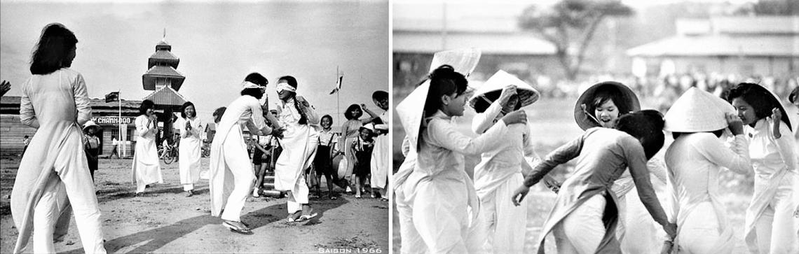 Saigon, April 1966 - - Vien Hoa Dao Blind man's buff - Những cô gái chơi trò bịt mắt bắt dê trên sân Viện Hóa Đạo April 10, 1966. Saigon