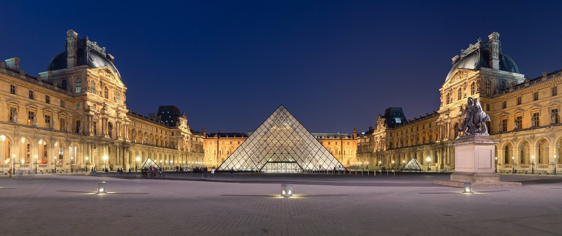 Courtyard of the Museum of Louvre, and its pyramid.